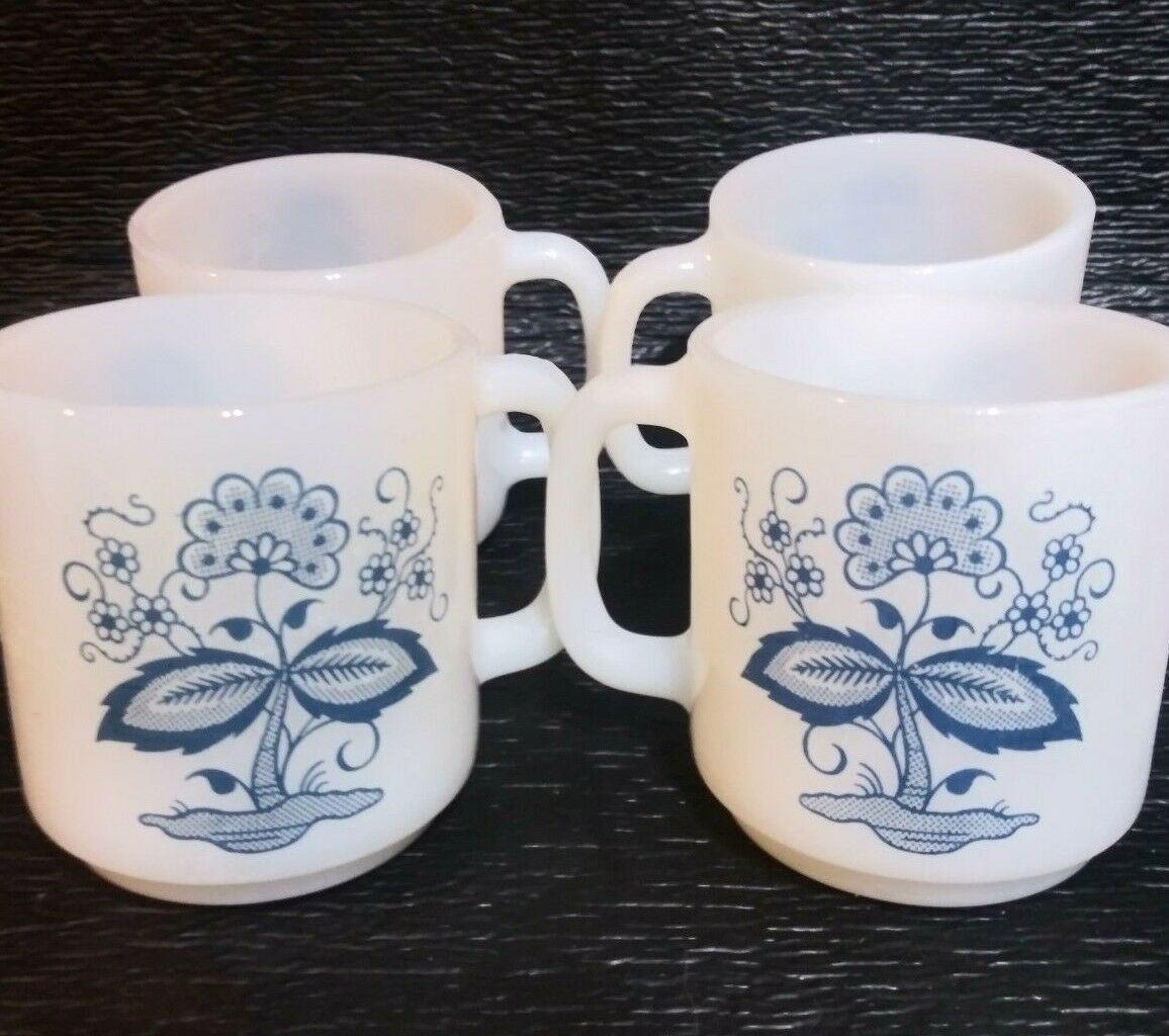 4 Glasbake Blue Onion Flower Coffee Cups Mugs White Milk Glass D Handle