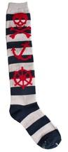 Loungefly Nautical Skull Navy Grey Red Striped Knee High Socks LFSK557 NWT
