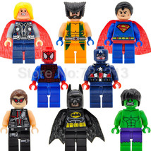 8pcs/set Superhero Marvel DC Spiderman Batman Hulk Thor Wolverine Superman Block - $7.99