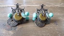Vintage Japanese Style Clip Earrings By ART - $19.79