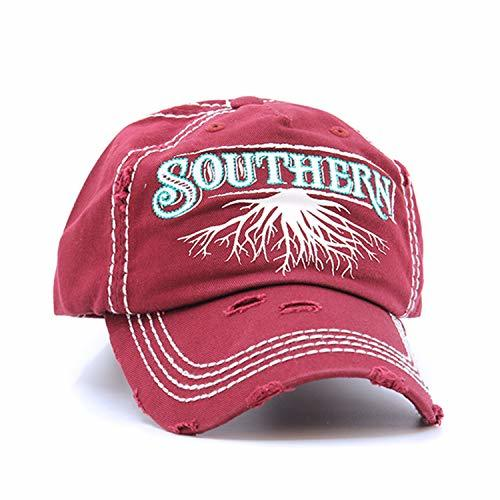 scarlettsbags Distressed Country Southern Roots Cap Baseball Hat (Burgundy)