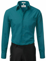 Berlioni Italy Men's Long Sleeve Solid Regular Fit Teal Dress Shirt - 2XL image 2