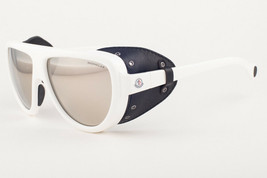 Moncler ML0089 21C White Leather / Silver Mirror Sunglasses ML 89 21C 57mm - $197.01