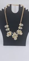 Vintage Box Style Gold Tone Chain W/ Pearl & Rhinestone Floral Cut Designs EUC - $38.72