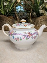 "Minton China Coffee Teapot Floral & Ribbon Design B848 4 3/4"" tall x 7 1... - $60.43"