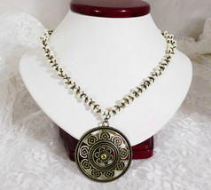 "Cookie Lee Bronze & White Pendant Necklace - Gorgeous & Gothic - 16"" + 3... - $18.69"