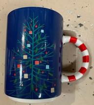 Starbucks Holiday 2018 Ceramic Mug Blue Tree Candy Cane Stripe 12oz NEW - $17.81