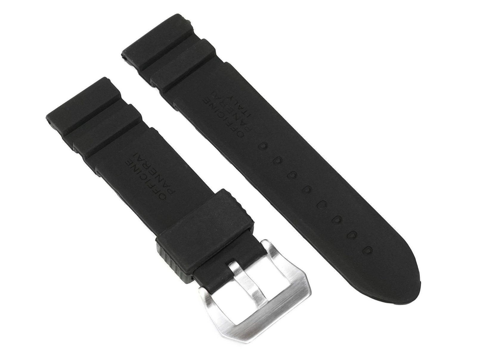 24mm Black Replacement Silicon Rubber Diver Watch Band Strap For Panerai