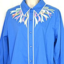 Bob Mackie Button Up Shirt Top Women Size M Blue Embroidered Ribbons Lon... - $27.71