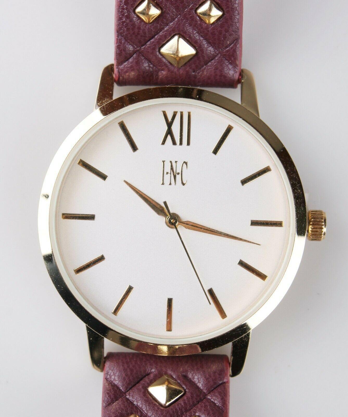 I.N.C. Women's Gold Tone Embossed Faux Leather Strap Studs 38mm Watch + Bracelet