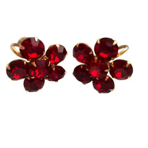 40s Weiss Signed Deep Blood Ruby Red Screw Back Rhinestone Crystal Earri... - $42.00