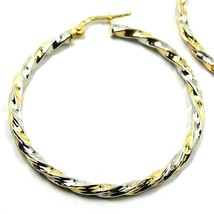 18K YELLOW WHITE GOLD CIRCLE HOOPS PENDANT EARRINGS, 4 cm x 3mm TWISTED, BRAIDED image 2