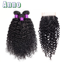 Anno Malaysia Curly Human Hair Bundles With Closure Non Remy Hair 3 Bund... - $238.40