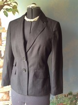 Kasper Long Sleeve Charcoal Gray Pinstripe Button Blazer Suit Jacket Size 8 - $42.46
