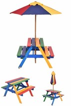 Kids Garden Bench Table Set Toddlers Parasol Umbrella Wooden Outdoor Pic... - $114.61