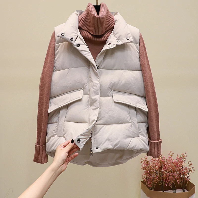 New black warm padded winter vest with pockets stand collar sleeveless waistcoat image 10