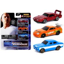 Fast & Furious 3 piece Set Nano Hollywood Rides Series 1 Diecast Model C... - $19.14