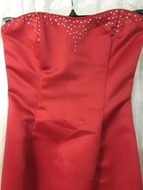 Jessica McClintock Women's Dress Strapless Jeweled Red Lined Dress Gown ... - $66.32