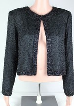 Stenay petite vintage womens black silk beaded sequined size PM - $28.98