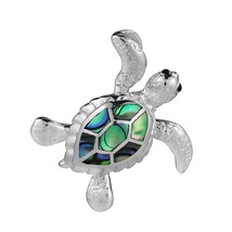 Sea Journey Swimming Turtle Abalone Shell .925 Sterling Silver Pendant - $116.32