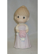Bridesmaid Precious Moments Wedding Figurine Lavender Dress Roses Earrin... - $33.65