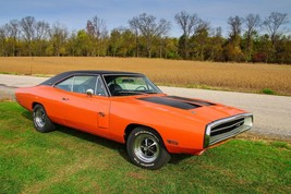 1970 Dodge Charger RT orange 24X36 inch poster, sports car, muscle car - $18.99