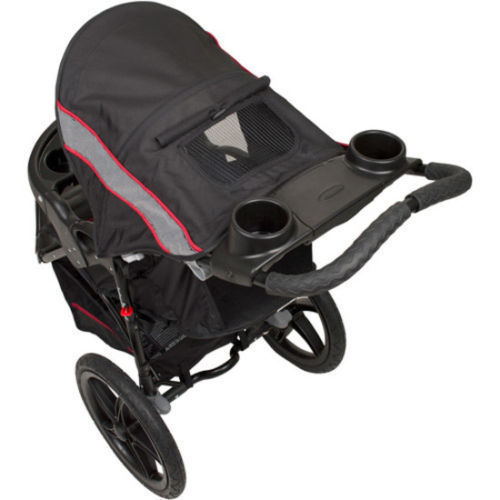 Lightweight Jogging Stroller Cargo Storage Cup Holder Sun Visor All Terrain Tire