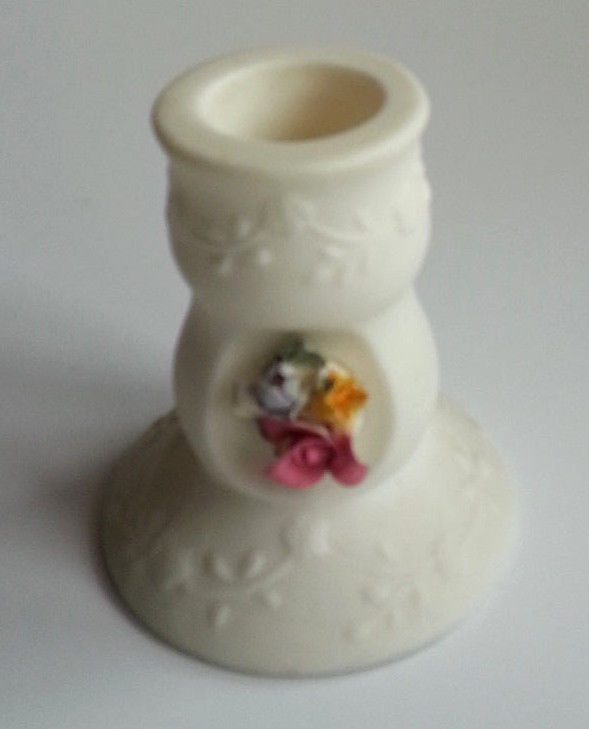 PartyLite Juliette Taper Candle Holder Bisque Porcelain Hand-crafted Fleur P0593