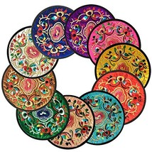 Ambielly Coasters for Drinks,Vintage Ethnic Floral Design Fabric Coaster... - $11.67