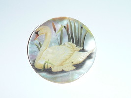 """Beautiful Momma Swan & Babies on MOP - Mother Pearl Shank Button 1-3/8"""" - $11.87"""