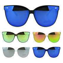 Flat Panel Color Mirrored Plastic Horn Rim Hipster Sunglasses - £9.84 GBP