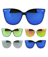Flat Panel Color Mirrored Plastic Horn Rim Hipster Sunglasses - £9.85 GBP