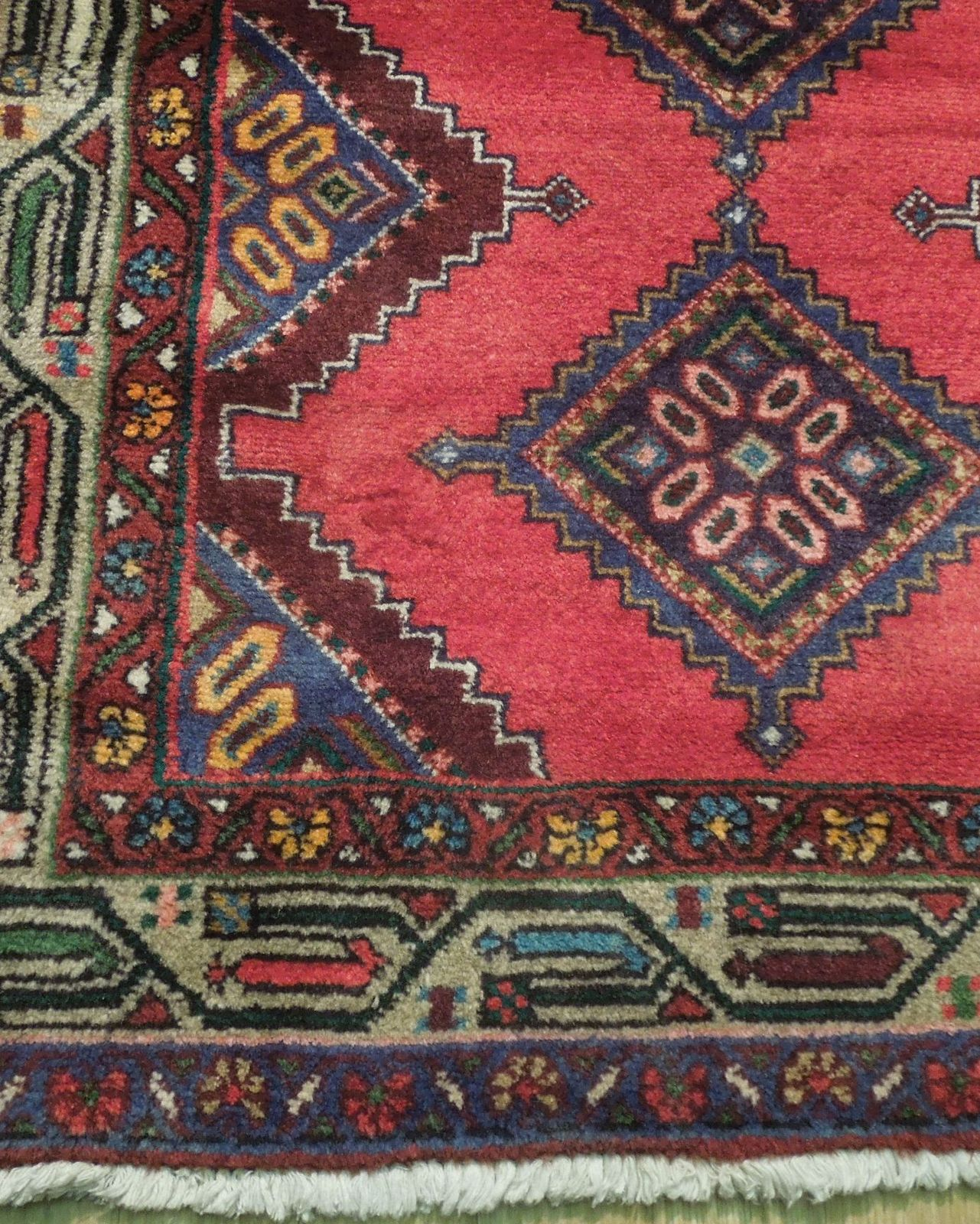 Pink Hamadan Persian Wool Handmade Rug 3x9 All-Over Geometric Rug image 3