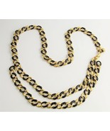 "39"" ESTATE VINTAGE Jewelry ST JOHN BLACK ENAMEL & GOLD CURBED CHAIN BELT   - $185.00"