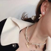 AUTH Christian Dior 2019 CLOVER CRYSTAL STAR HOOP DANGLE GOLD Earrings  image 9
