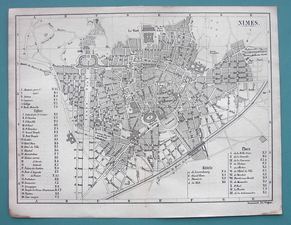Primary image for 1874 MAP BAEDEKER City Plan - FRANCE Nimes