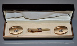 Mid Century Men's Swank gold toned CZ Cuff Links & Tie Clip set in box - $19.00