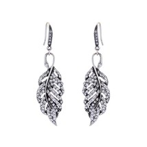 Crystal Earrings Classic Fashion Clear Zinc Alloy Leaf Dangle Earrings W... - $10.48