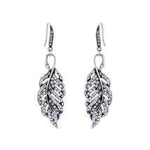 Crystal Earrings Classic Fashion Clear Zinc Alloy Leaf Dangle Earrings W... - £8.37 GBP