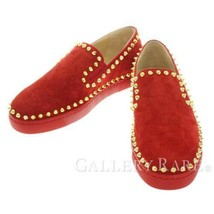 Christian Louboutin Sneakers Suede Red Ladies Size 35 Studded Authentic ... - $550.78