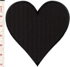 Black heart biker poker cards applique iron-on patch BIG 6.63 X 7 inches... - $6.92
