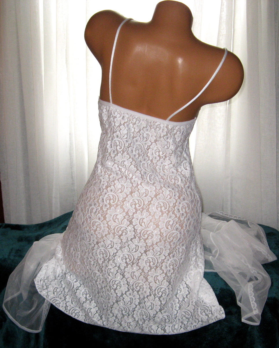 White Stretch Lace Chemise and Chiffon Robe Set M Short Nightgown