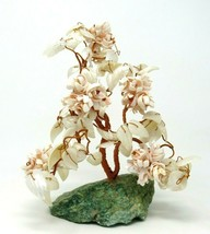 """Hand Made 9.5"""" Bonsai TREE SCULPTURE Copper Wire & Shells on a Green Sto... - $27.23"""