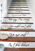 "(24"" X 43"") Vinyl Stairs Decal Quote in This House We Are Family We Love Do / In - $37.01"