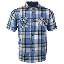 Overdrive Men's Cotton Plaid Button Up Casual Short Sleeve Slim Fit Dress Shirt image 9
