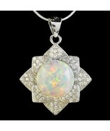 "Alducchi White Rainbow lab Fire Opal -CZ 925 Sterling Silver Pendant 16""... - $46.95"