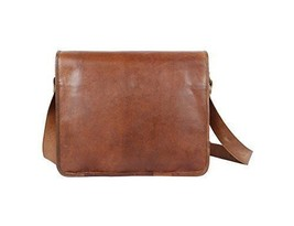 "New 15"" Pure Soft Rustic Leather Brown Office Shoulder Laptop Messenger Bag - $63.78"