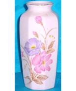 Pink floral ceramic vase Japan purple pink peonies 6 inches - $9.00