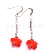 Women White Gold Plated Red Swarovski Element Crystal Flower Long Hooks ... - $15.89