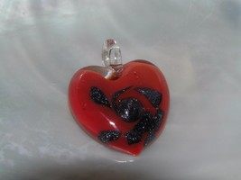 Estate Red with Dark Purple Sparkly Swirls Fused Glass HEART Pendant – 1... - $8.59